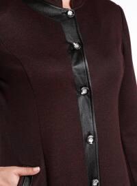 Maroon - Fully Lined - Crew neck - Plus Size Coat