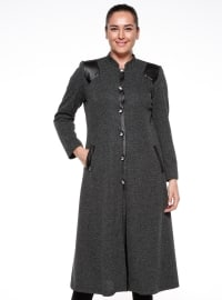 Black - Fully Lined - Crew neck - Plus Size Coat