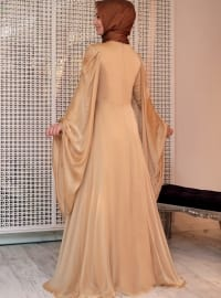 Gold - Golden tone - Fully Lined - Crew neck - Muslim Evening Dress