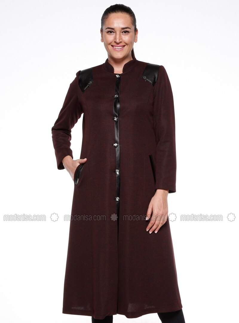 Maroon - Fully Lined - Crew neck - Plus Size Coat