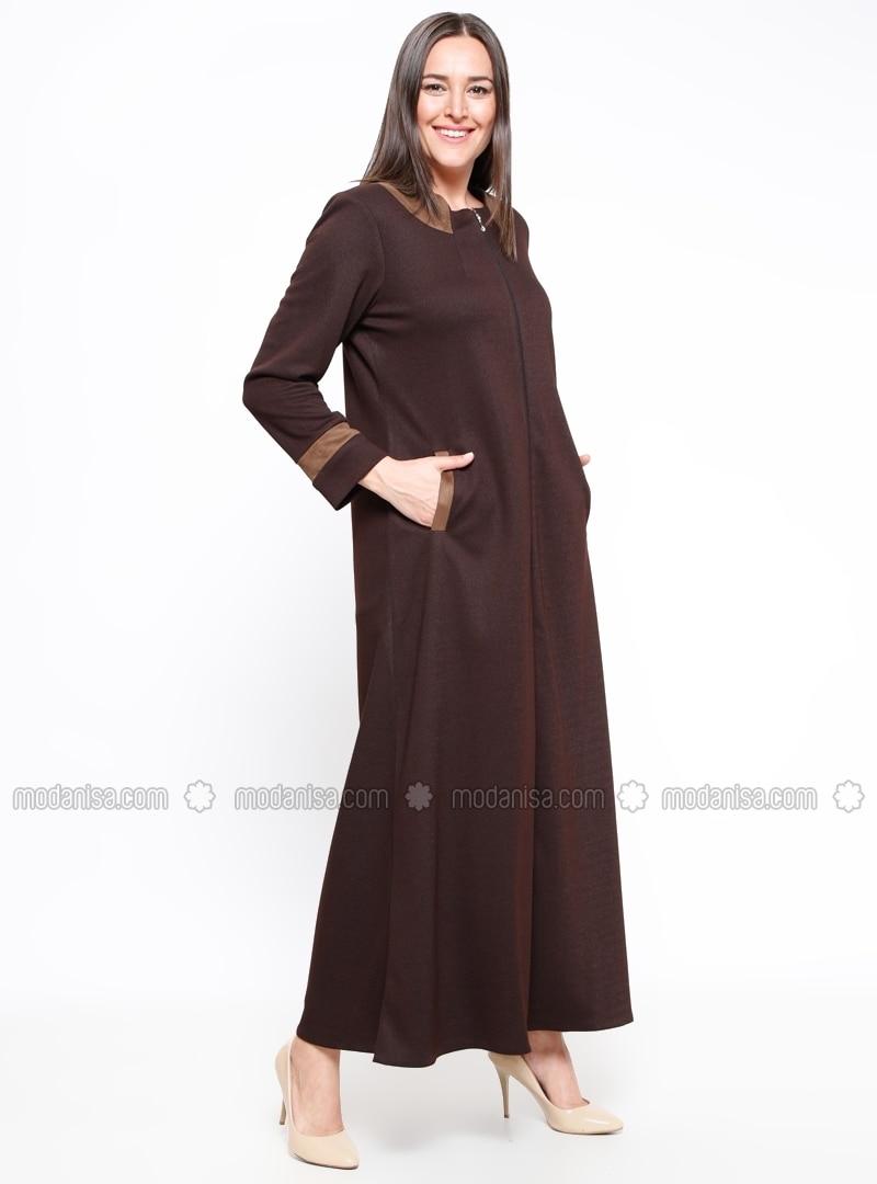 Neck Brown Plus Size Abaya Jamila
