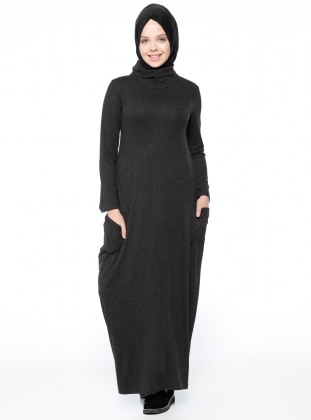Black - Polo neck - Unlined - Dresses - Dadali 339528