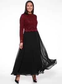 Dantelli Abiye Elbise - Bordo Siyah - Sevilay giyim
