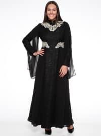 Dantelli Abiye Elbise - Siyah - Sevilay giyim
