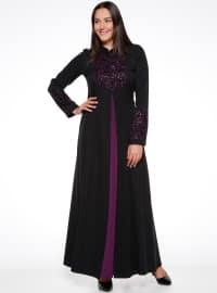 Payetli Abiye Elbise - Siyah Mürdüm - Sevilay giyim