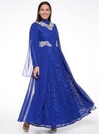 Dantelli Abiye Elbise - Saks - Sevilay giyim