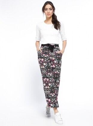 Desenli Bol Paça Pantolon - Siyah Pembe TOMMY LIFE