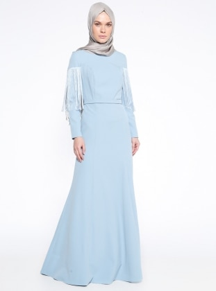 Blue - Fully Lined - Crew neck - Muslim Evening Dress - Mileny 339821