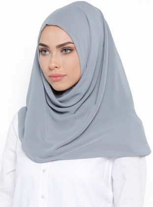 Plain - Gray - Instant Scarf