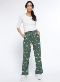 Desenli Bol Paça Pantolon - Yeşil - Tommy Life