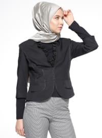 Fırfırlı Ceket - Siyah - Mileny