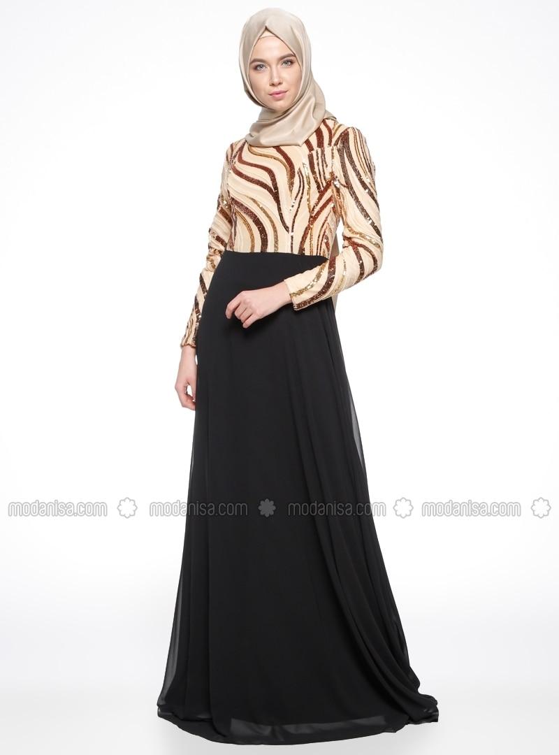 Black Gold Evening Dress