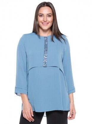 Blue - Crew neck - Plus Size Tunic - Kifayet 340226