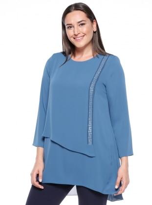 Blue - Crew neck - Plus Size Tunic - Kifayet 340232