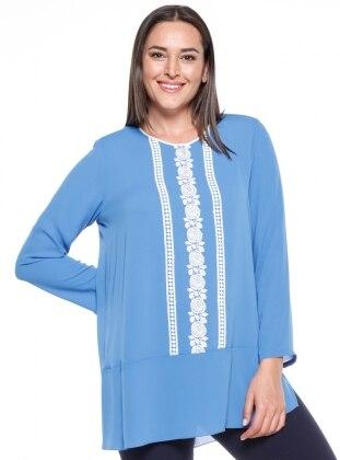 Blue - Crew neck - Plus Size Tunic - Kifayet 340196