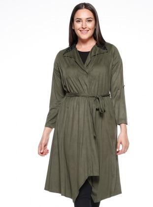 Khaki - Point Collar - Plus Size Cardigan