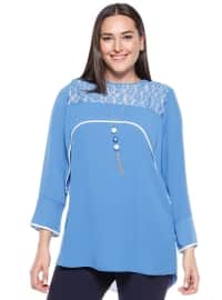 Dantel Detaylı Bluz - Mavi - Kifayet