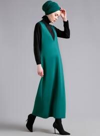 Kolsuz V Yakalı Elbise - Zümrüt - Refka