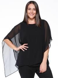 Şifon Detaylı Bluz - Siyah - RMG