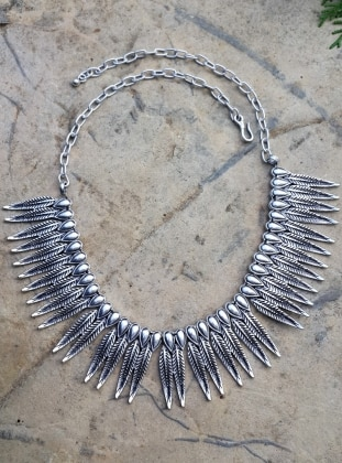Silver tone - Necklace - Stoneage