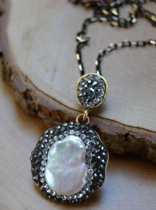 Silver tone - Necklace - Stoneage
