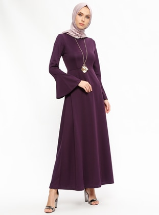 Purple - Crew neck - Unlined - Dresses