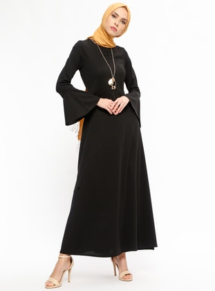 Unlined - Crew neck - Black - Dresses