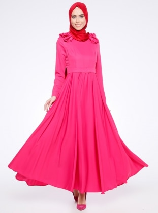 Pink - Crew neck - Fully Lined - Dresses