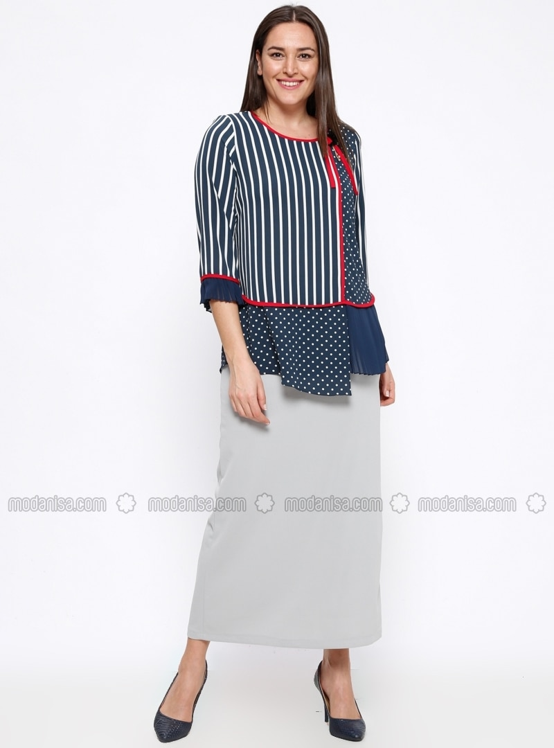 Gray - Unlined - Plus Size Skirt