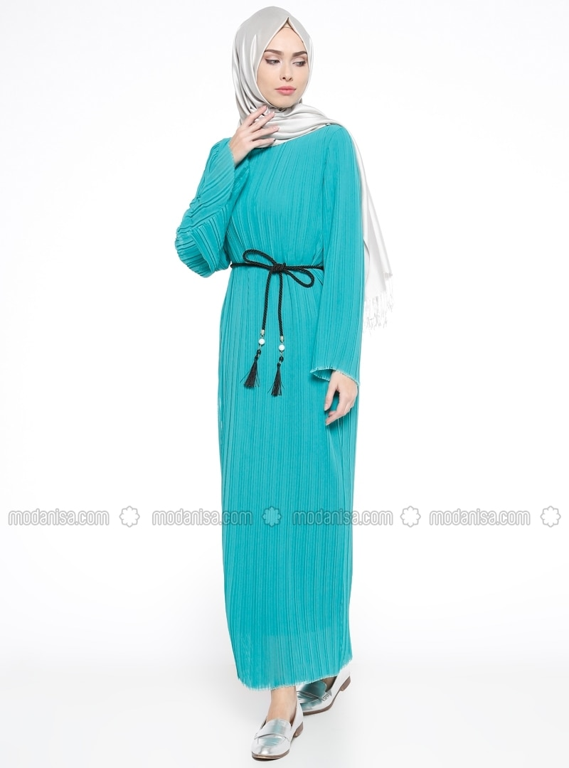 Green - Crew neck - Fully Lined - Dresses