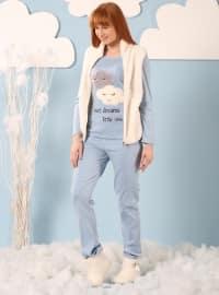 3`lü Yelekli Wellsoft Pijama Takımı - Mavi Ekru - Siyah inci