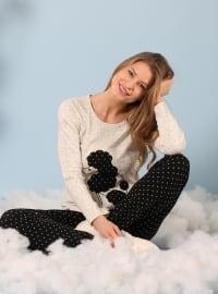 İnterlok Pijama Takımı - Siyah Krem - Siyah inci