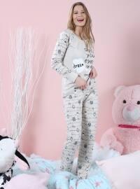 İnterlok Pijama Takımı - Taş - Siyah inci