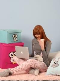 Pamuklu Likralı Pijama Takımı - Antarsit Pudra - Siyah inci