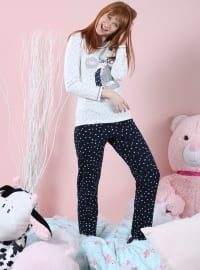 Pamuklu Likralı Pijama Takımı - Lacivert Ekru - Siyah inci