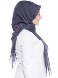 Plain - Navy Blue - Shawl