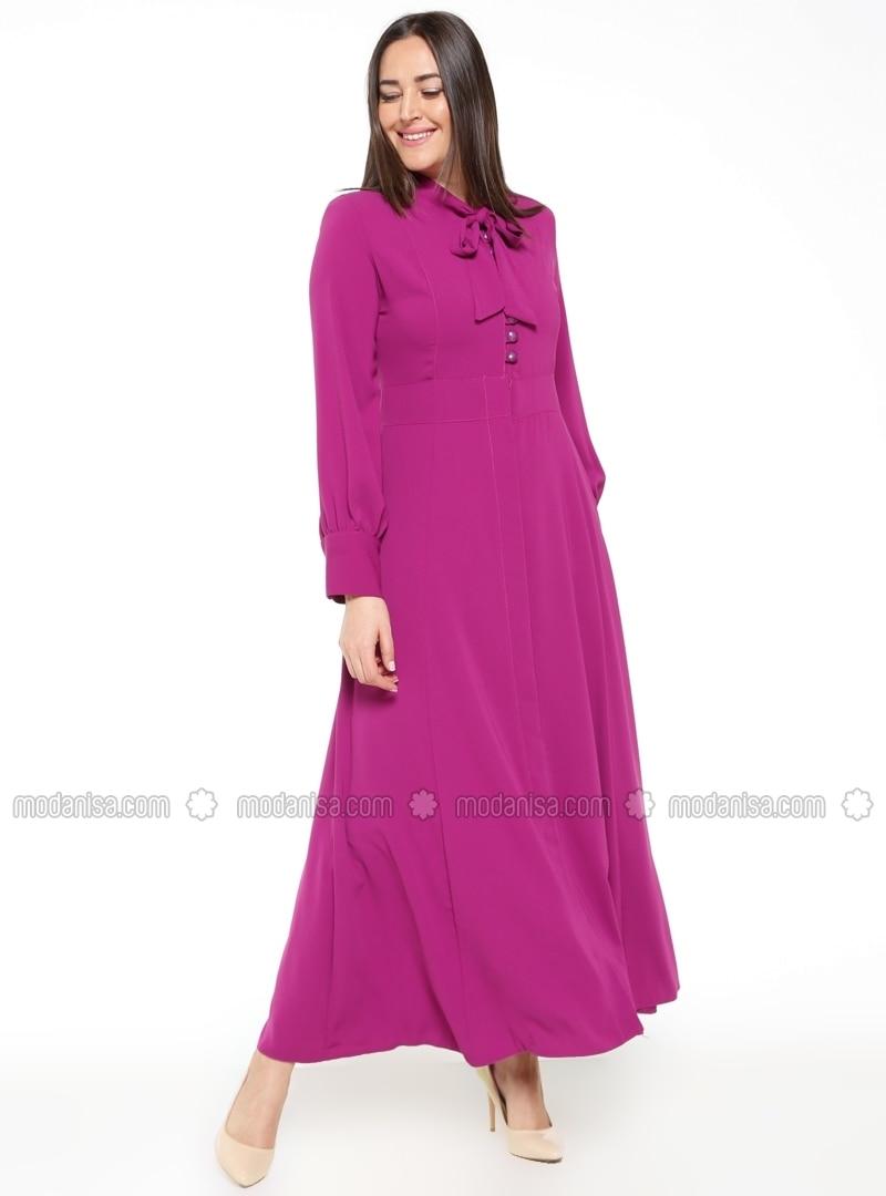 Pink - Fully Lined - Polo neck - Plus Size Dress - BÜRÜN PLUS