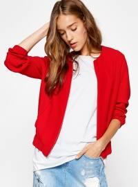 Fermuarlı Ceket - Kırmızı - Koton