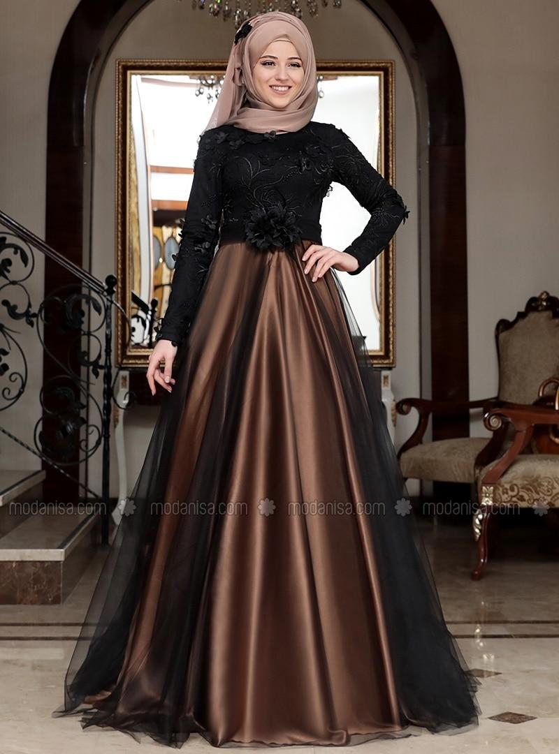 Tan - Fully Lined - Crew neck - Muslim Evening Dress