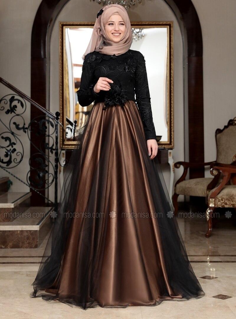 Tan - Fully Lined - Crew neck - Muslim Evening Dress - Al-Marah