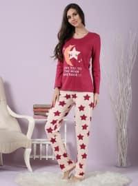 Pamuklu Likralı Pijama Takımı - Vişne - Miamisenza