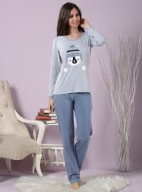 Pamuklu Likralı Pijama Takımı - Mavi Gri - Miamisenza