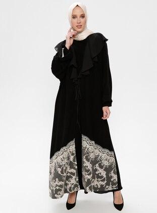 Fully Lined - V neck Collar - Black - Abaya