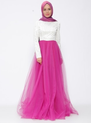 White - Pink - Ecru - Fully Lined - Crew neck - Muslim Evening Dress