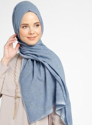 Cotton - Plain - Blue - Shawl
