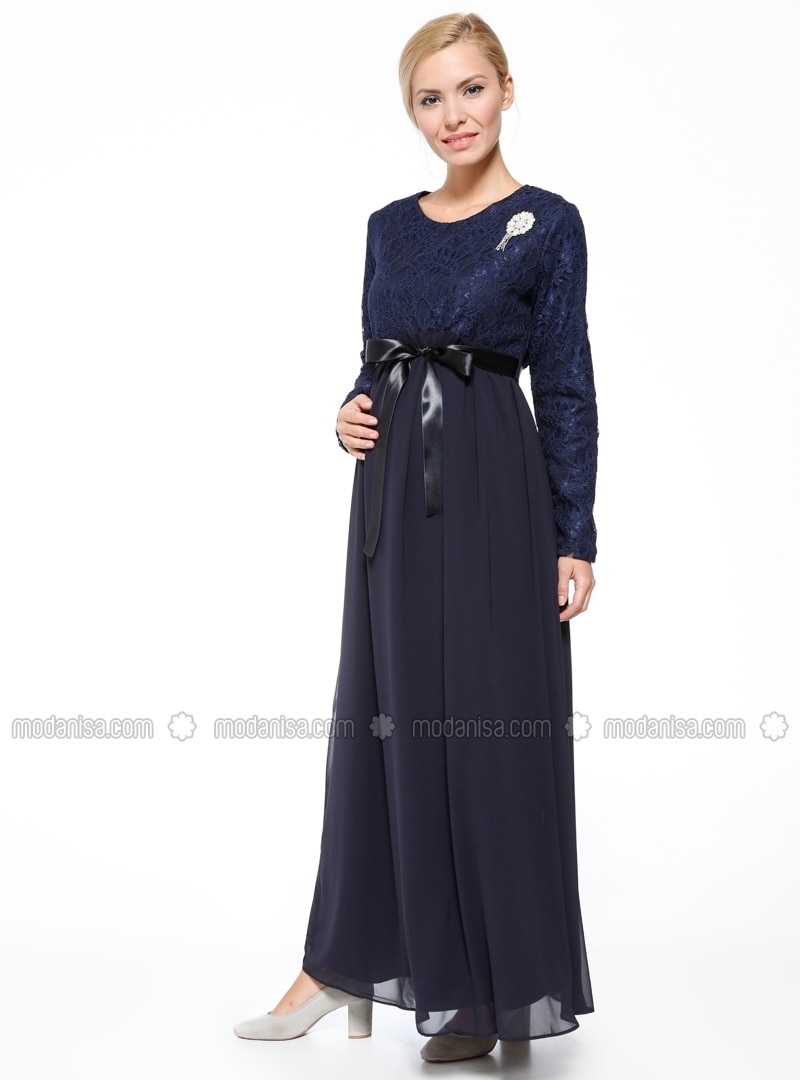 Blue fully lined maternity evening dress gr sin navy blue fully lined maternity evening dress gr sin ombrellifo Images