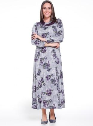 Gray Purple Multi Unlined Crew Neck Plus Size Dress