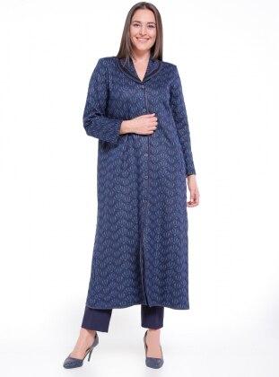 Unlined - Multi - Navy Blue - Blue - Shawl Collar - Plus Size Coat