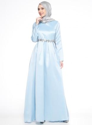 Puane Taş Süslemeli Abiye Elbise - Açık Mavi