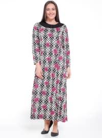 Unlined - Multi - Gray - Pink - Black - Crew neck - Plus Size Dress